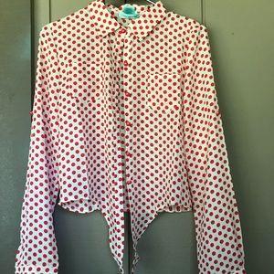 Red/Cream Polka Dot Front Tie Blouse Sz Medium